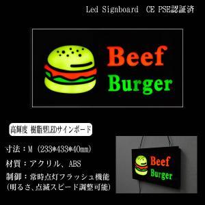 看板 イラスト LED サインボード Beef Burger 233×433 店舗 OPEN 営業中 utsunomiyahonpo