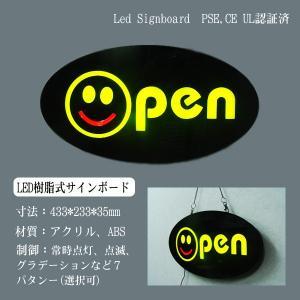 看板 イラスト LED サインボード OPEN 233×433 スマイル 店舗 OPEN 営業中 utsunomiyahonpo