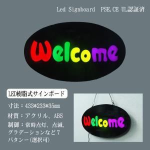 看板 イラスト LED サインボード WELCOME 233×433 ポップ調 店舗 OPEN 営業中 utsunomiyahonpo