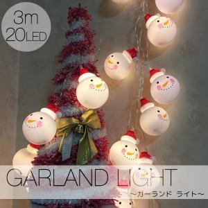 ガーランドライト イルミネーション クリスマス ライト 電池式 電球色 3m 雪だるま キャンプ LED オーナメント|utsunomiyahonpo