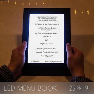 メニューブック LED おしゃれ レザー 1ページ A4 25×19cm 飲食店 クラブ ディスプレイ utsunomiyahonpo