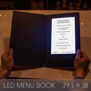 メニューブック LED おしゃれ レザー 1ページ A5 29.5×38cm 見開き 飲食店 クラブ ディスプレイ utsunomiyahonpo