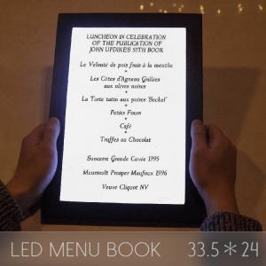 メニューブック LED おしゃれ レザー 1ページ A4 33.5×24cm 飲食店 クラブ ディスプレイ utsunomiyahonpo