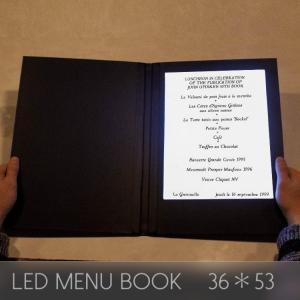 メニューブック LED おしゃれ レザー 1ページ A4 36×53cm 見開き 飲食店 クラブ ディスプレイ utsunomiyahonpo