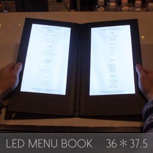 メニューブック LED おしゃれ レザー 2ページ 36.5×38.5cm 見開き 飲食店 クラブ ディスプレイ utsunomiyahonpo