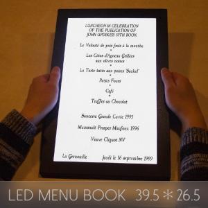 メニューブック LED おしゃれ レザー 1ページ 39.5×26.5cm 飲食店 クラブ ディスプレイ utsunomiyahonpo