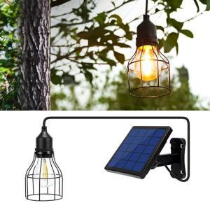 ソーラーライト ガーデンライト 屋外用 電球色 吊り下げ 防水 ペンダント ランプ ランタン 充電式...
