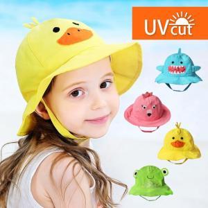 キッズ ハット 帽子 UVカット メッシュ UPF50+ 52cm キャラクター 女の子 男の子 ベビー 子供 夏 海 日よけ 紫外線 水遊び プール サンハット サファリハット|utsunomiyahonpo