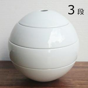 有田焼 李荘窯 珠型三段重 白磁(ツヤあり)...