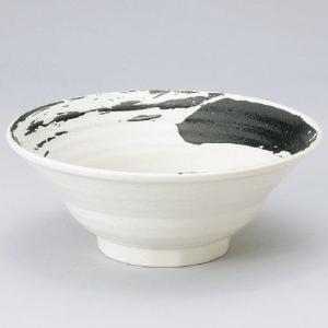 業務用ラーメンどんぶり白地黒刷毛流六兵衛8.0丼・25cm|utuwayaissin