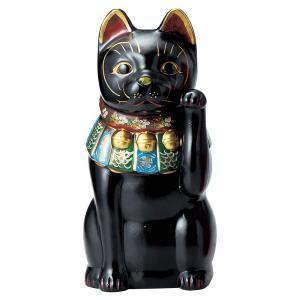 招き猫・古色大正猫 黒12号(左手上げ)|utuwayaissin