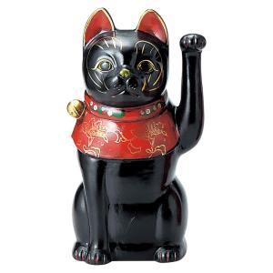 招き猫・古色大正猫 黒9号(左手上げ) utuwayaissin