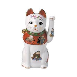 赤絵七福神招き猫 8号(左手上げ)|utuwayaissin