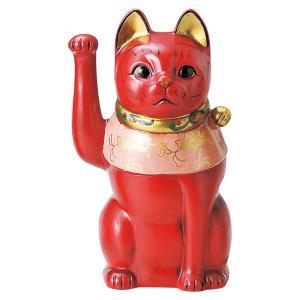 招き猫・古色大正猫 赤9号(右手上げ)|utuwayaissin