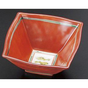 小鉢 赤絵双魚角小鉢・業務用|utuwayaissin