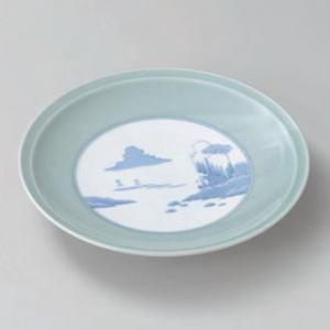 大皿 (盛込皿)・青磁内山水10号高台皿(業務用大皿)31cm|utuwayaissin