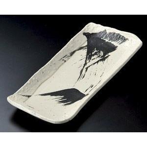 サンマ皿 黒刷毛石目焼物皿33.5×14.5cm業務用|utuwayaissin