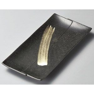 ホッケ皿(ほっけ皿)天正黒刷毛長角皿30.2×14.5cm業務用|utuwayaissin