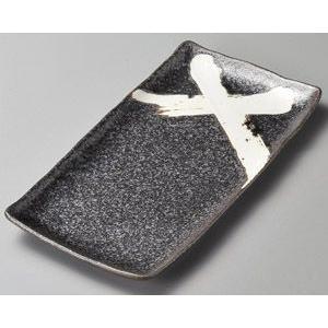 ホッケ皿(ほっけ皿)黒釉白刷毛33.7×17.2cm業務用|utuwayaissin