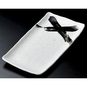 ホッケ皿(ほっけ皿)白釉黒刷毛33.7×17.2cm業務用|utuwayaissin