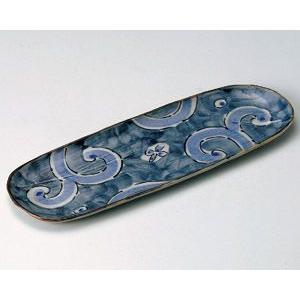 さんま皿 古染濃唐草33.5×11.5cm業務用|utuwayaissin