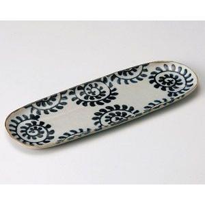 さんま皿 染付たこ唐草33.5×11.5cm業務用