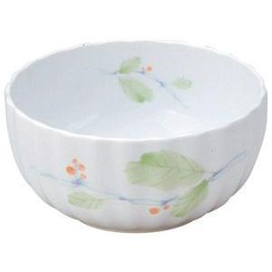 給食用食器 赤い実・11cm菊型深鉢(強化磁器)