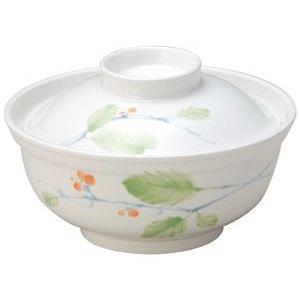 給食用食器 赤い実・13.6cm蓋付多用碗(強化磁器)