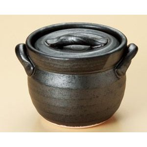 萬古焼 黒釉ご飯釜2合炊 炊飯土鍋|utuwayaissin