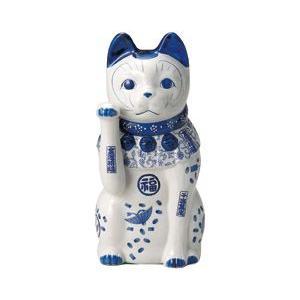 染付招き猫 11号(右手上げ)|utuwayaissin