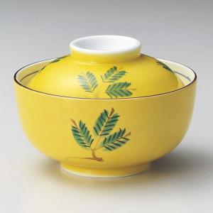 蓋付き煮物碗・手描黄釉木の葉円菓子碗11.8cm|utuwayaissin