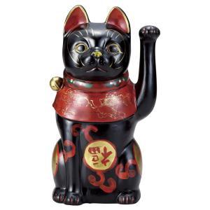 招き猫・吉祥古色大正猫 黒9号(左手上げ)|utuwayaissin