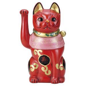 招き猫・吉祥古色大正猫 赤9号(右手上げ) utuwayaissin