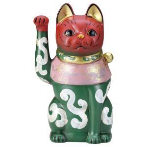 招き猫・古色唐草大正猫 緑9号(右手上げ) utuwayaissin