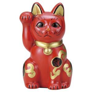 招き猫・古色吉祥維新猫 赤5号(右手上げ) utuwayaissin