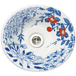陶器製手洗い鉢 手描きゴス花絵9号手洗鉢(信楽焼)|utuwayaissin|04