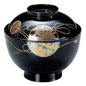吸物椀・3.8寸京型椀 黒パール箔手まり|utuwayaissin