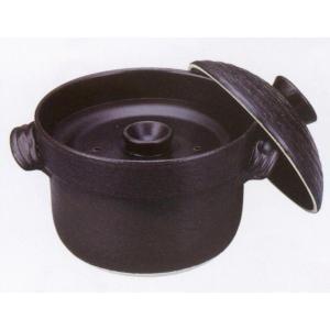 萬古焼 大黒黒釉ご飯鍋3合炊(中蓋付)炊飯土鍋|utuwayaissin