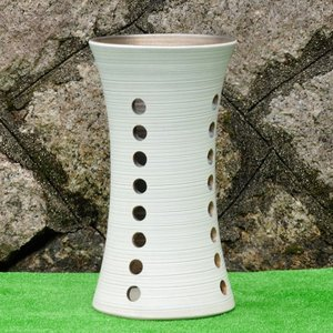 傘立て・信楽焼き陶器製傘たて 白マット透し彫鼓型 utuwayaissin