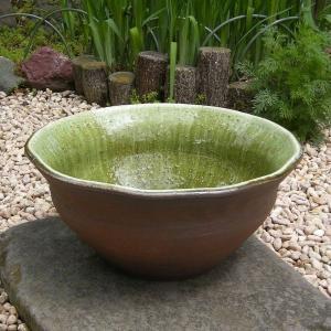 めだか鉢・グリーンガラス(水鉢・睡蓮鉢)信楽焼13号|utuwayaissin