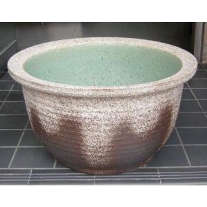 水鉢・灰釉千段(睡蓮鉢・水蓮鉢)信楽焼15号|utuwayaissin