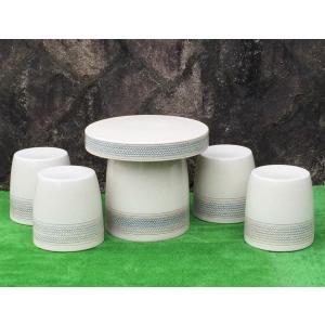 ガーデンテーブルセット(信楽焼陶器製5点)白縄文20号|utuwayaissin