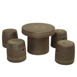 ガーデンテーブルセット(信楽焼陶器製5点)窯肌松皮22号|utuwayaissin
