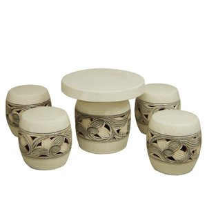 ガーデンテーブルセット(信楽焼陶器製5点)カスミ唐草・太鼓型20号|utuwayaissin