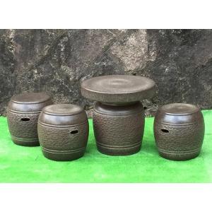 ガーデンテーブルセット(信楽焼陶器製4点)窯肌松皮16号|utuwayaissin