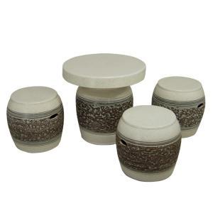 ガーデンテーブルセット(信楽焼陶器製4点)白松皮・太鼓型16号|utuwayaissin