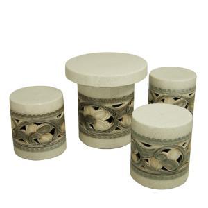 ガーデンテーブルセット(信楽焼陶器製4点)カスミ唐草・切立型15号|utuwayaissin