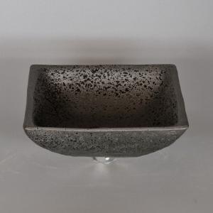 陶器製手洗器 手洗い鉢 黒釉正角9号手洗鉢(信楽焼)|utuwayaissin