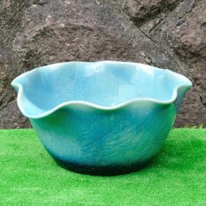 睡蓮鉢・ブルーガラス花型(水鉢・水蓮鉢)信楽焼17号|utuwayaissin