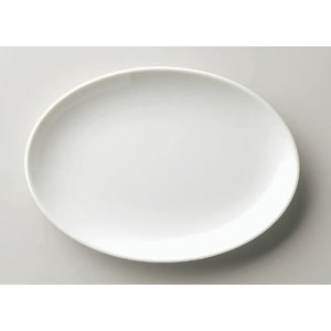 中華定番アイテム・白無地の小判皿 渕無 外寸24.0cm×17.0cm×高さ2.7cm
